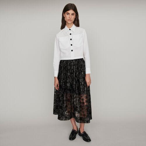 Chemise en popeline à boutons contrastés : Collection hiver couleur Blanc