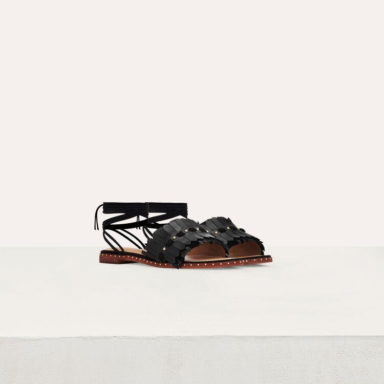 Sandales plates à liens en cuir et suède : Chaussures plates couleur Black
