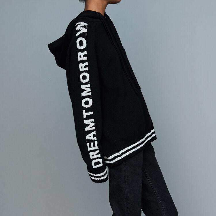 Pull oversize à capuche : Maille couleur Black