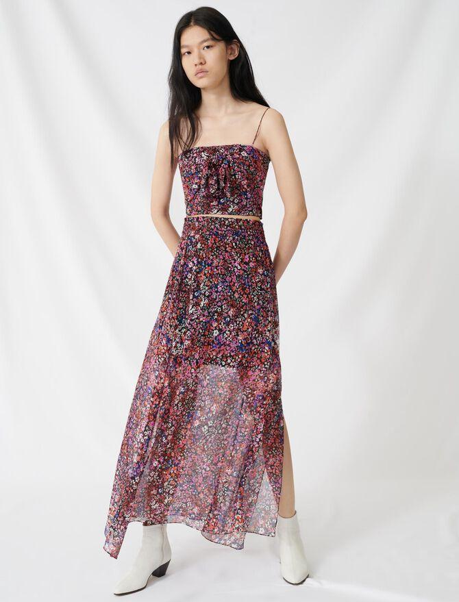 Jupe à motif floral en soie - Jupes & Shorts - MAJE