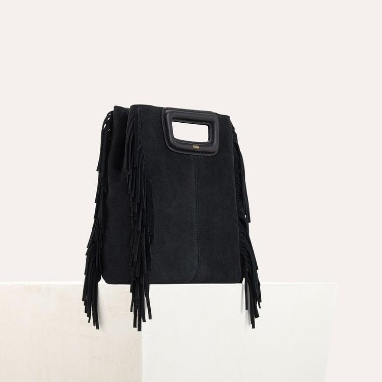 Sac M à franges en cuir de suède : Sac M couleur BLACK