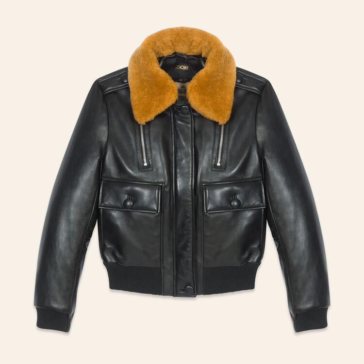 Blouson en cuir esprit aviateur : Blousons couleur Black