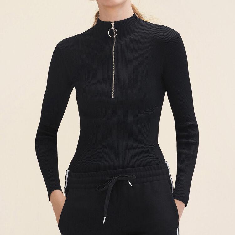 Pull fin en maille stretch avec zip : Pulls & Cardigans couleur Black