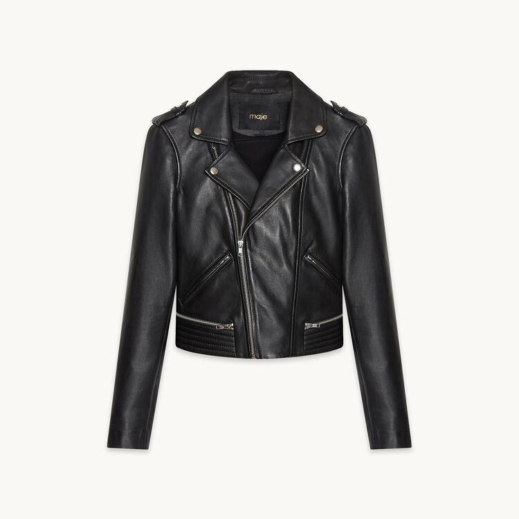 Blouson en cuir BASALT : Black friday couleur BLACK