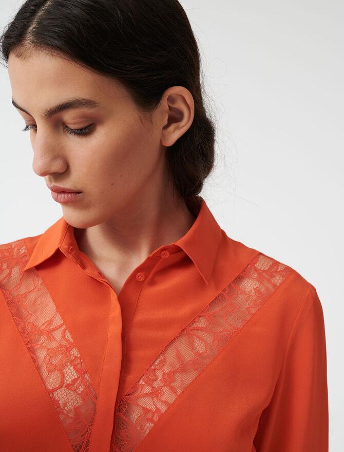 Chemise à incrustations de dentelles - Tops & Chemises - MAJE