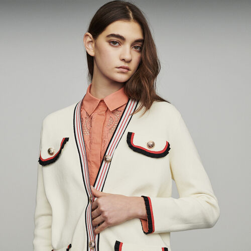 Veste longue en maille bloquée : Pulls & Cardigans couleur ECRU