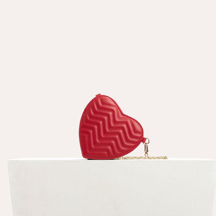 Besace cœur en cuir matelassé : Semaines précédentes couleur Rouge
