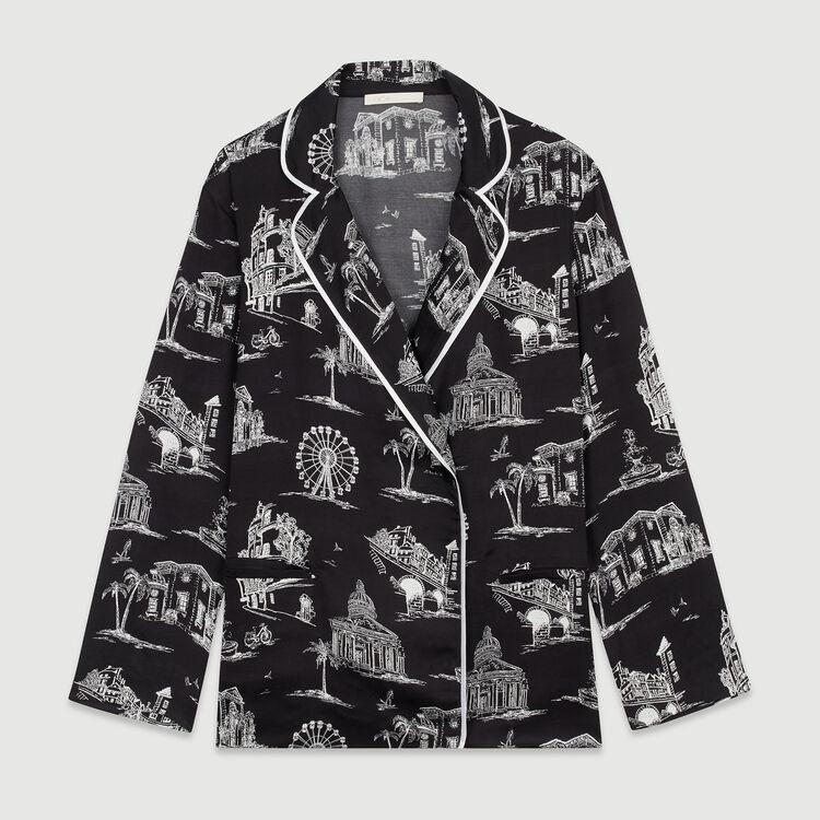 Chemise à imprimé Paris : Tops & Chemises couleur BLACK
