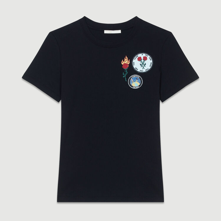 Tee-shirt en coton à patch : T-Shirts couleur Black