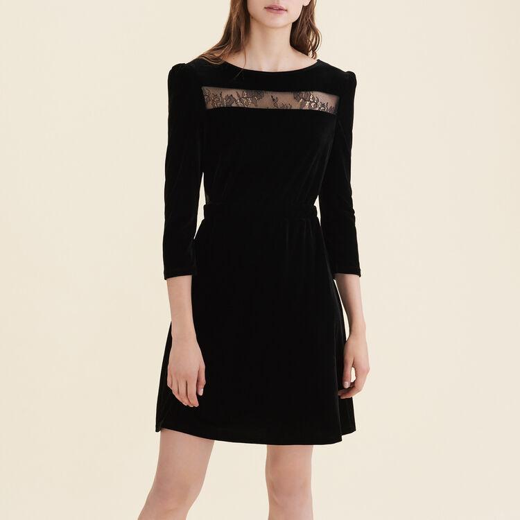 Robe en velours et dentelle : Robes couleur Black
