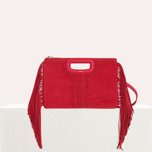 Pochette M Duo en suède tressé et cuir : M Duo couleur Rouge