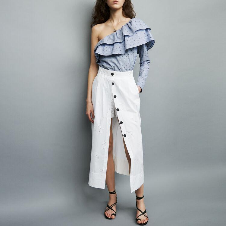 Jupe-short longue en coton : Jupes & Shorts couleur Blanc