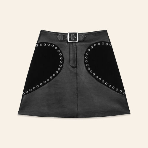Jupe trapèze en cuir : Jupes & Shorts couleur BLACK