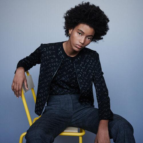 Cardigan en jacquard Lurex : Pulls & Cardigans couleur Noir