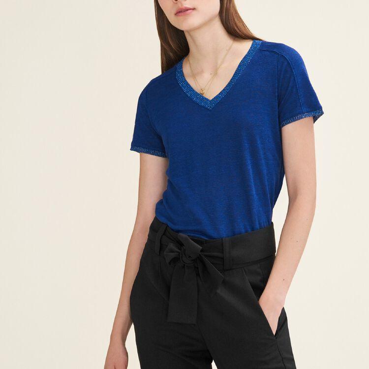 Tee-shirt avec galon en Lurex : T-shirts couleur Bleu