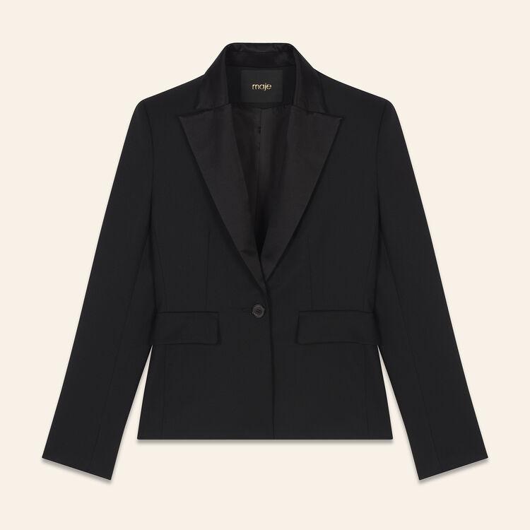 Veste de tailleur en laine mélangée : Vestes couleur Black