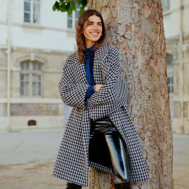 Manteau oversize à double boutonnage : Manteaux couleur Jacquard
