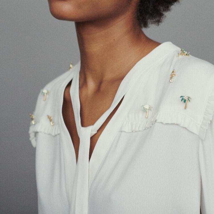 Blouse en crêpe avec bijoux palmiers : Chemises couleur ECRU
