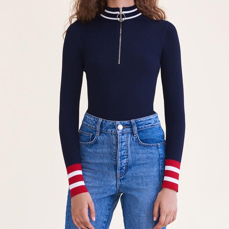Pull en maille fine zippé : Pulls & Cardigans couleur BORDEAUX