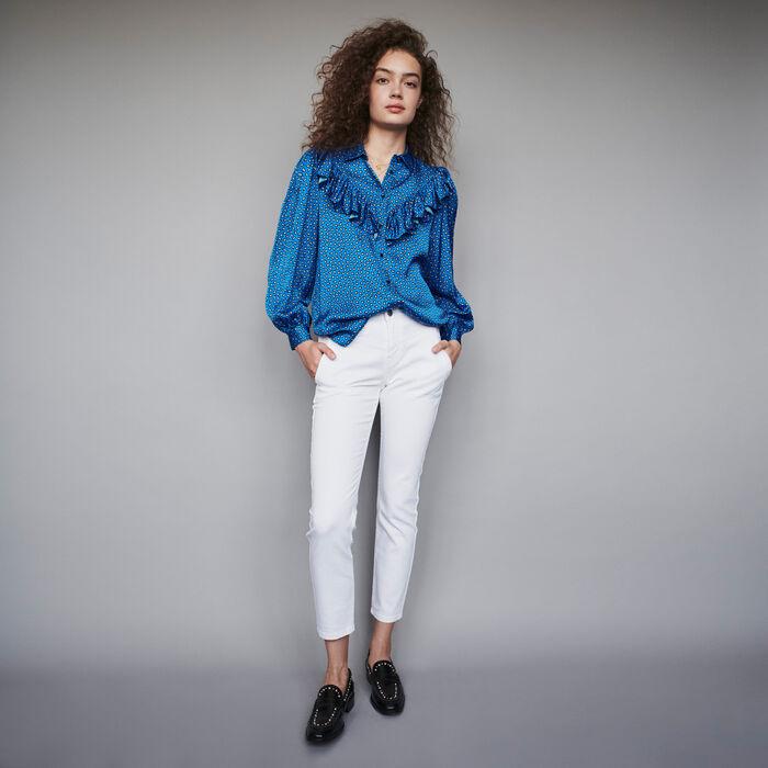 Chemise en satin imprimé à volants : Tops & Chemises couleur Bleu