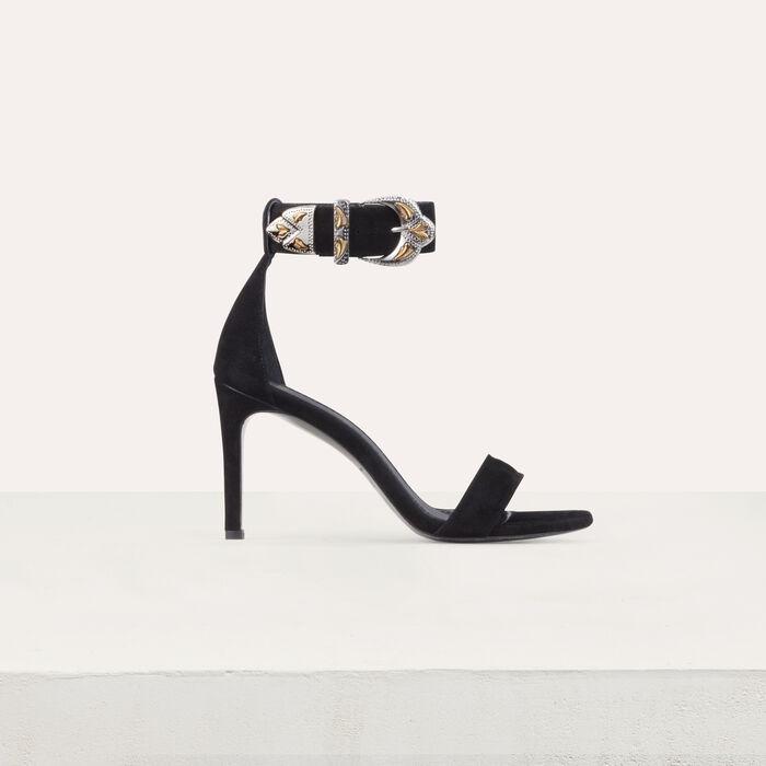 Sandales à talon en suède : Escarpins couleur Black