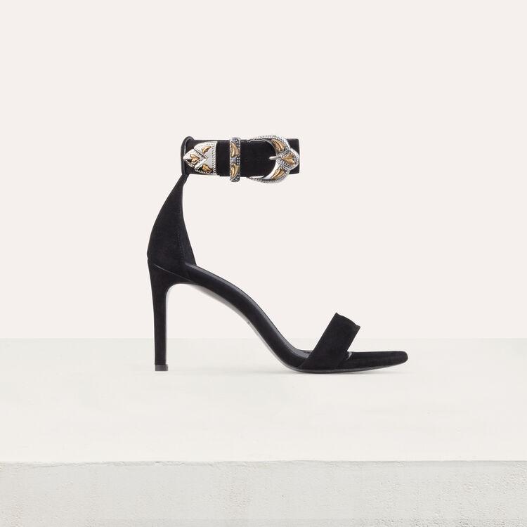 Sandales à talon en suède : Chaussures couleur Black