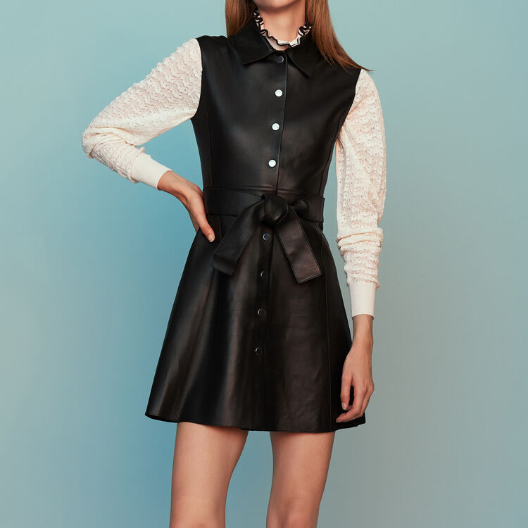 555ff6e4bc965 Robes true Robe-chemise sans manches en cuir   Robes couleur Black