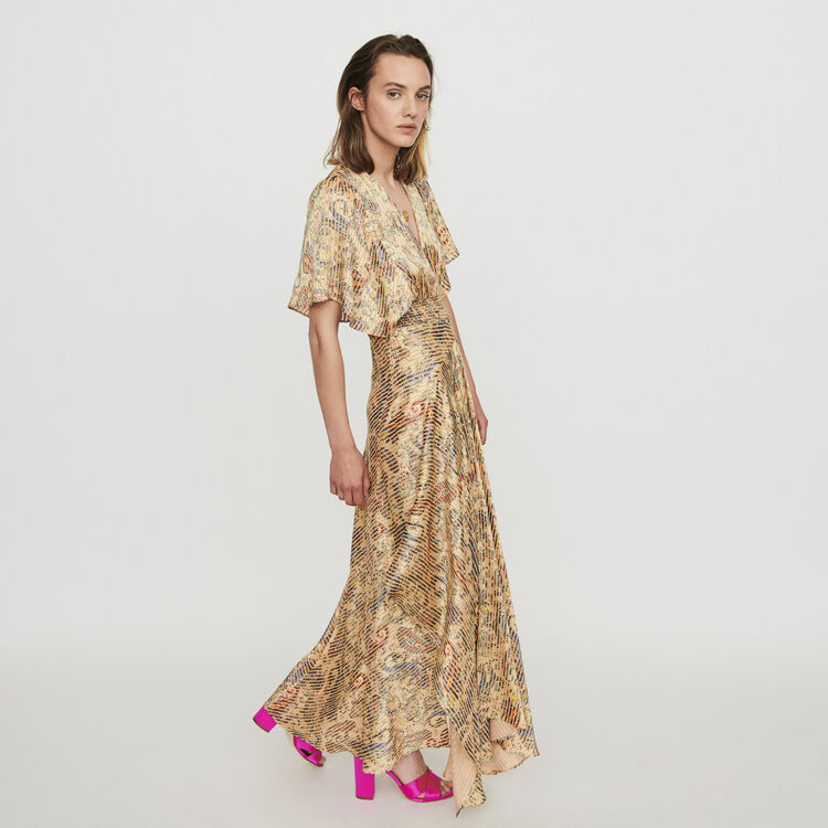 Robe-foulard smockée en imprimé dévoré : Robes couleur Beige