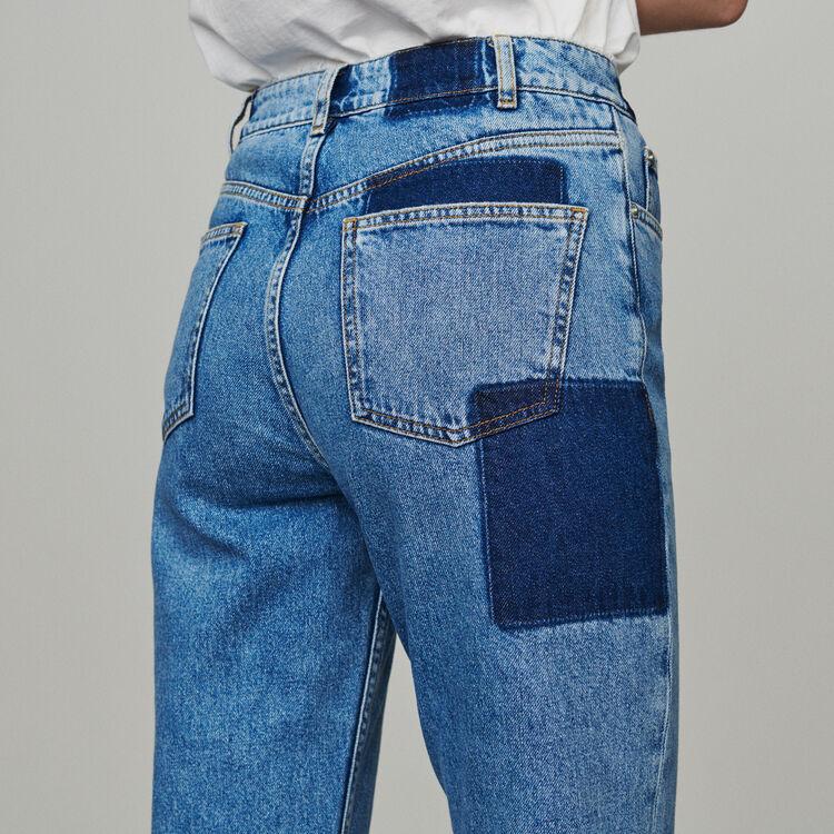 Jean droit avecempiècements contrastés : Pantalons & Jeans couleur Bleu