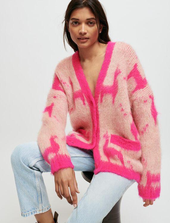 Cardigan en mohair brossé motif lama - Pulls & Cardigans - MAJE