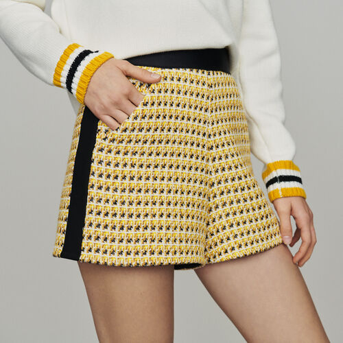 Short en tweed et lurex : Jupes & Shorts couleur Jaune