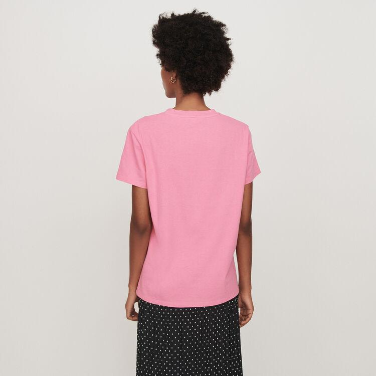 Tee-shirt manches courtes brodé : T-Shirts couleur Rose