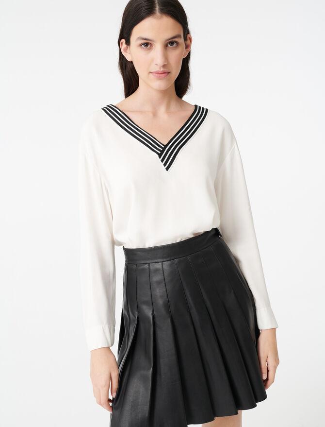 Top en crêpe avec détail contrasté - Tops & Chemises - MAJE