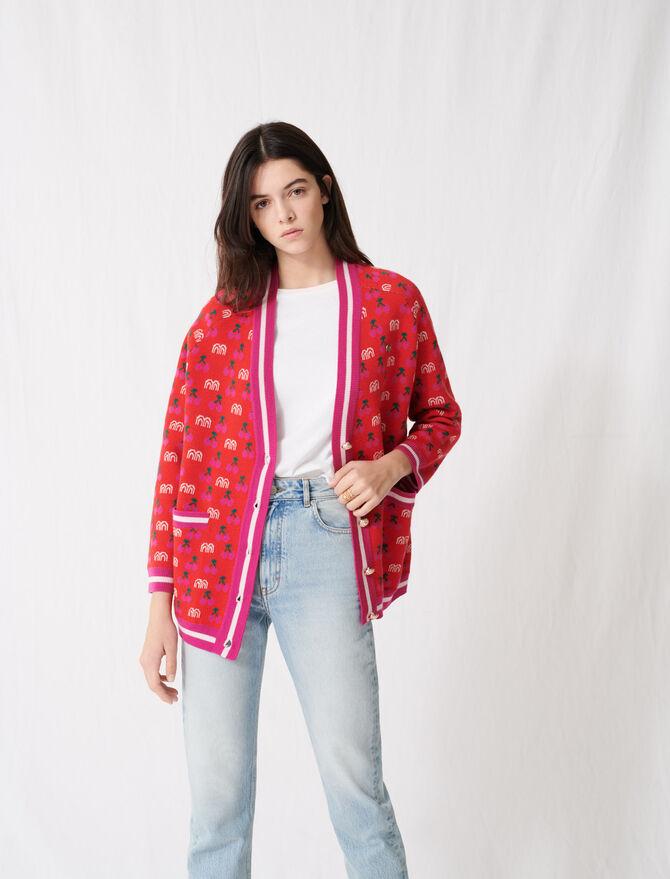 Cardigan en jacquard à motifs contrastés - Pulls & Cardigans - MAJE