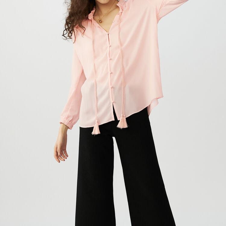 Chemisier fluide avec cordon : Chemises couleur Rose