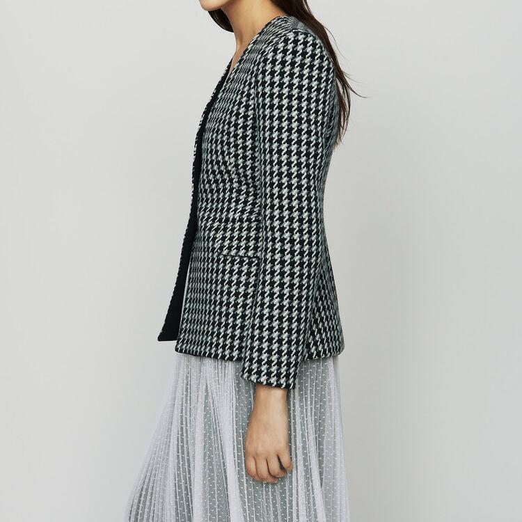 Veste en laine pied-de-poule : Vestes couleur Jacquard