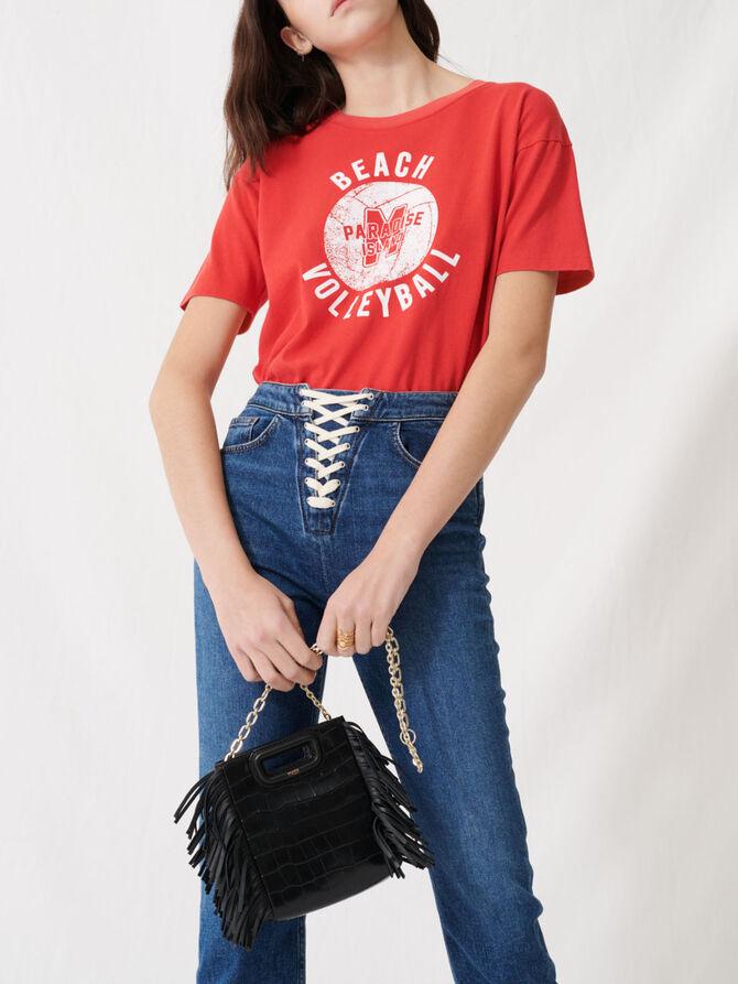 Jean en denim bleu à fermeture lacée - Pantalons & Jeans - MAJE