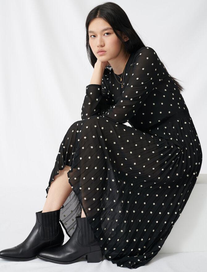 Robe longue plissée avec broderies - Robes - MAJE
