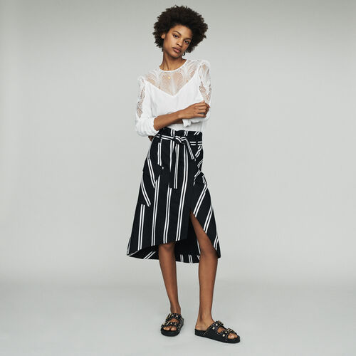 Jupe midi à rayures : Jupes & Shorts couleur Rayure