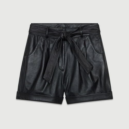 Short large en cuir  : Jupes & Shorts couleur Black