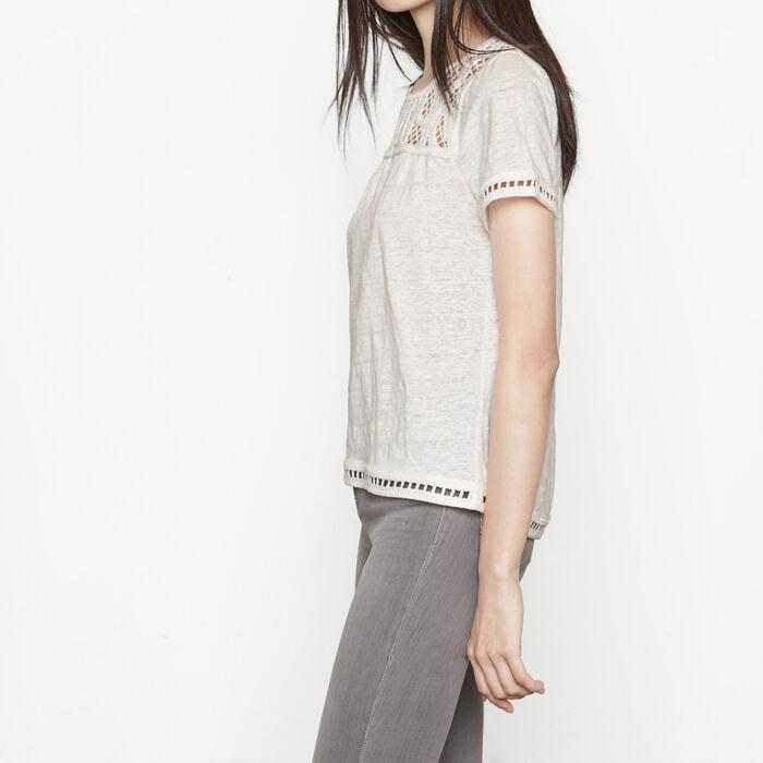 talence tee shirt avec d tails en macram maje paris. Black Bedroom Furniture Sets. Home Design Ideas