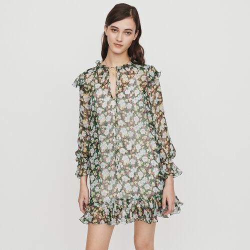 Robe courte en soie avec volants : Robes couleur IMPRIME