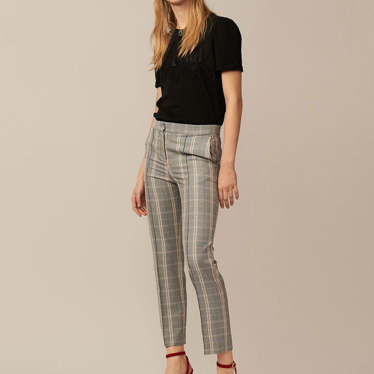 Pantalon droit à carreaux - Pre-Collection - MAJE