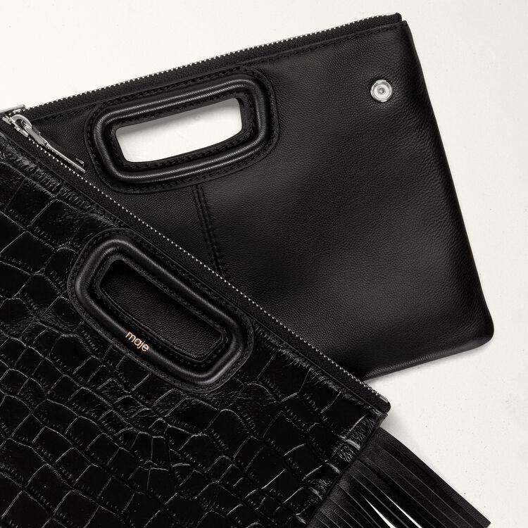 Pochette M Duo en cuir embossé crocodile : M Duo couleur Black