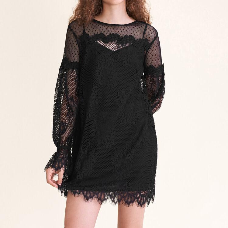 Robe courte en dentelle et plumetis : Robes couleur Black