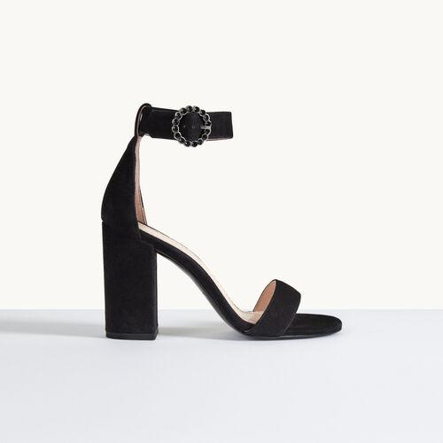 Sandale à talon en cuir de suède - Chaussures - MAJE