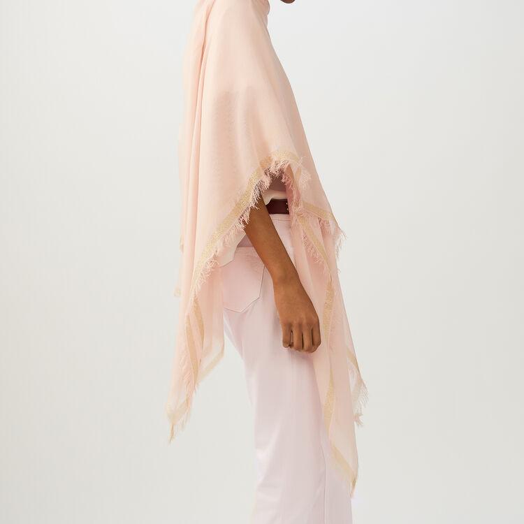 Poncho avec bandes en Lurex : Châles & Ponchos couleur Rose