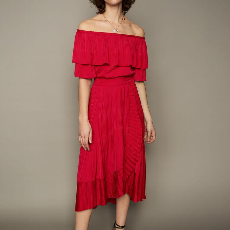 Jupe longue portefeuille avec plissage : Jupes & Shorts couleur ROUGE