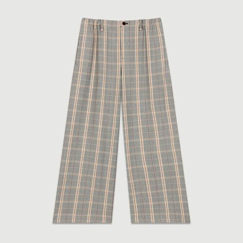 Pantalon large à carreaux : Pantalons couleur CARREAUX