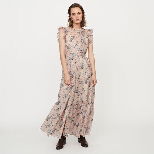 Robe longue en voile de coton imprimé : Robes couleur NUDE